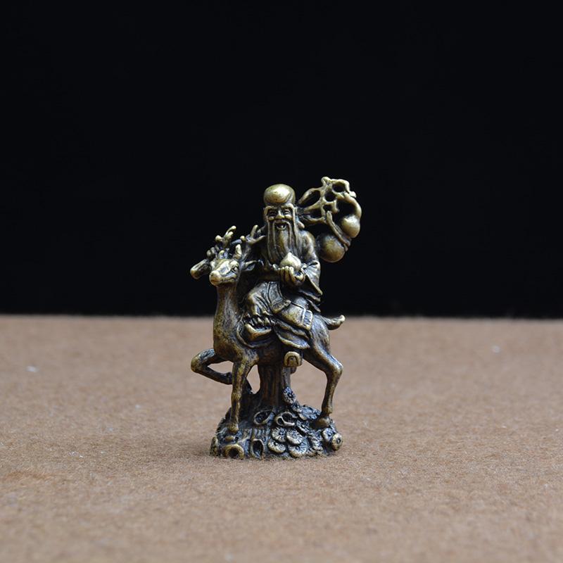 中式古典铜器寿星铜像福禄寿神像随身小佛像收藏件复古纯铜摆件 Изображение 1