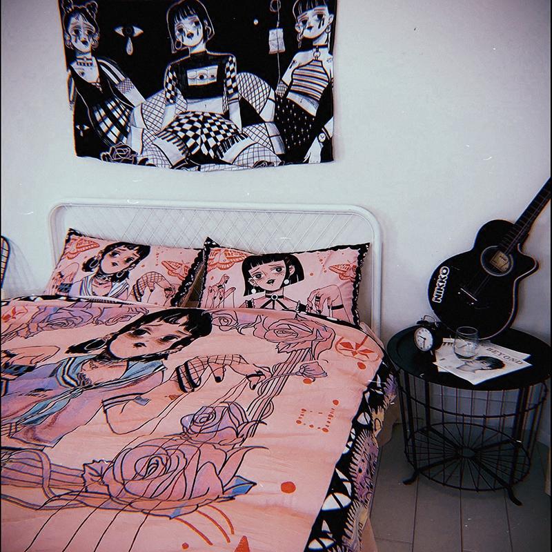 【原创】暗黑 哥特傀儡木偶线女孩床单被套四件套粉色纯棉 可床笠