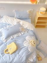 設計師款法式太陽花長絨棉純棉床品床單被套床上四件套HOMENELA