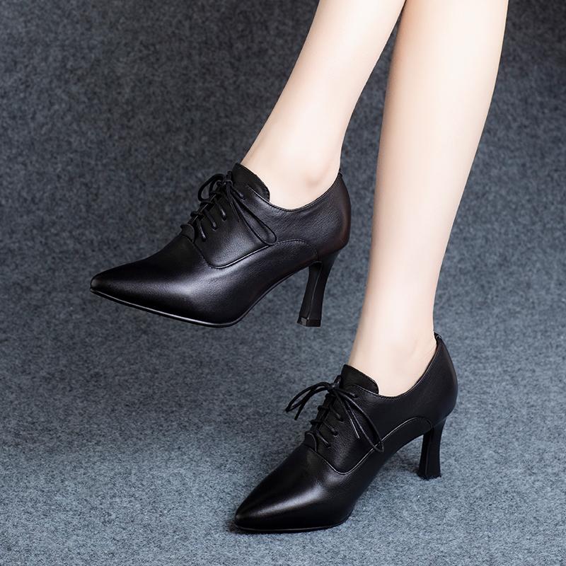 深口单鞋女真皮高跟鞋2020年春秋新款2021春季粗跟细跟尖头小皮鞋