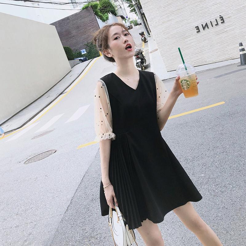 2019夏季新款法国小众连衣裙很仙的女装甜美气质收腰显瘦流行裙子