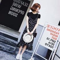 韩版2019夏装新款 宽松大码荷叶边中长款v领时尚小碎花吊带连衣裙