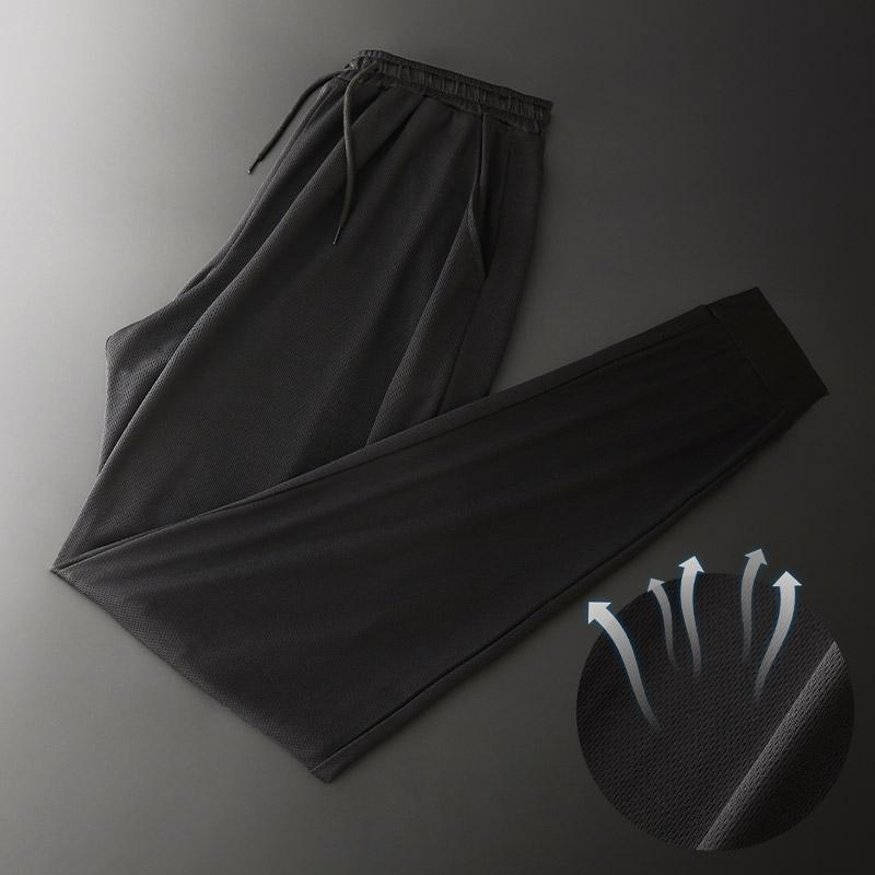新爆料轻奢男士休闲冰丝裤直筒潮流薄款运动加肥大速干网眼空调裤