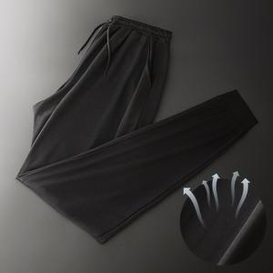 轻奢男士夏季休闲冰丝裤直筒潮流薄款运动速干加肥加大网眼空调裤