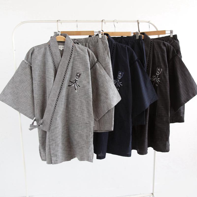 日本单江**绪砖柜高档和风刺绣男士全棉甚平日式家居服套装夏季新
