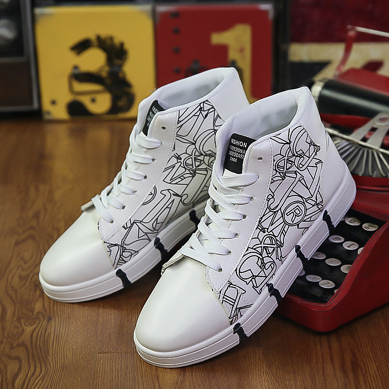 X0anta0c positive brand Chinese Style Mens shoes Zhongbang pattern canvas shoes high top graffiti shoes student flat bottom high tube