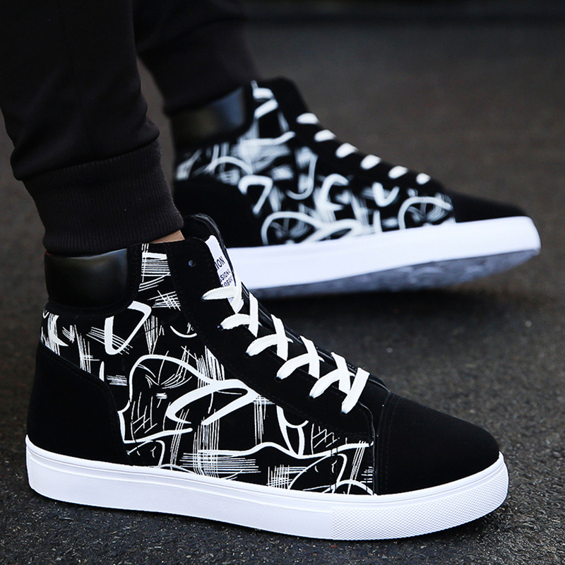 X0anta0c spring mens high top shoes Korean mens casual high bond shoes black and white pattern High Waist Sports