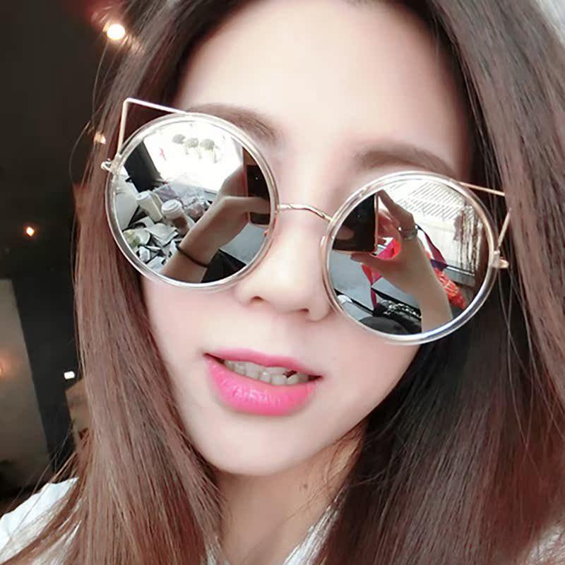 2020新款太阳镜欧美金属架镂空款太阳眼镜女个性潮猫耳朵圆形墨镜