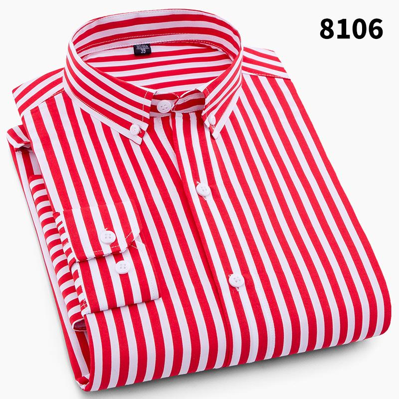 夏季轻薄男装短袖衬衫青年免烫时尚潮流宽竖条纹修身休闲长袖衬衣