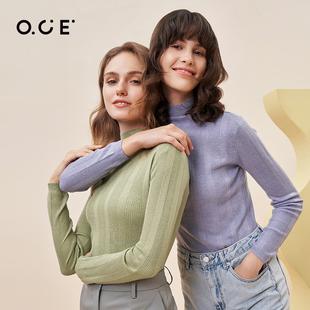 OCE半高领针织打底衫黑色薄款秋冬修身内搭针织衫毛衣2021新款女