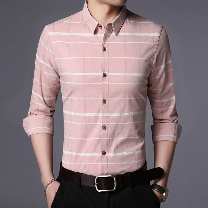 Jonohn Long Sleeve Shirt Mens inch clothes new spring mens clothes slim fit and easy to wear casual trend young mens bottoming shirt