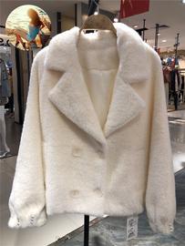 麦诺伊2020冬季shop1972仿貂绒双排扣翻领外套女MR420417045图片