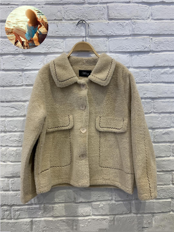 麦诺伊2020冬季shop1972假口袋撞色线短外套女MR200417066