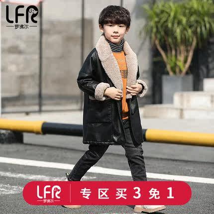 过年新款男童加绒韩版2019衣服儿童冬装皮衣夹克中大童中长款冬季