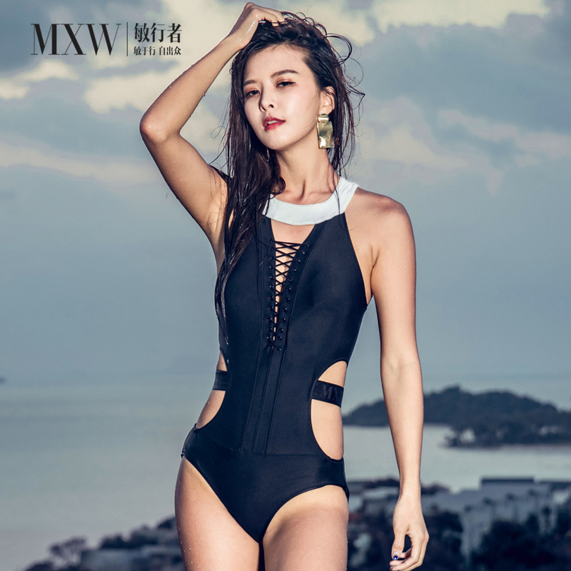 Sensitive Walker ins wind one piece triangle swimsuit womens Bikini conservative cover belly, show thin chest, sexy waist