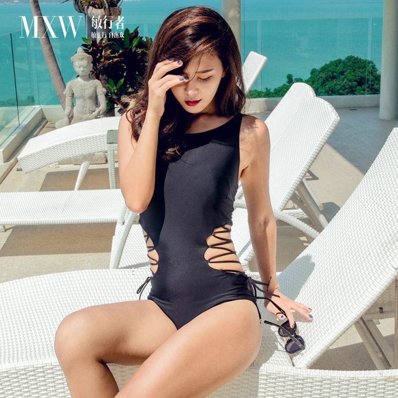 Minxing new ins style swimsuit for women sexy conjoined Triangle Bikini conservative cover belly show thin chest