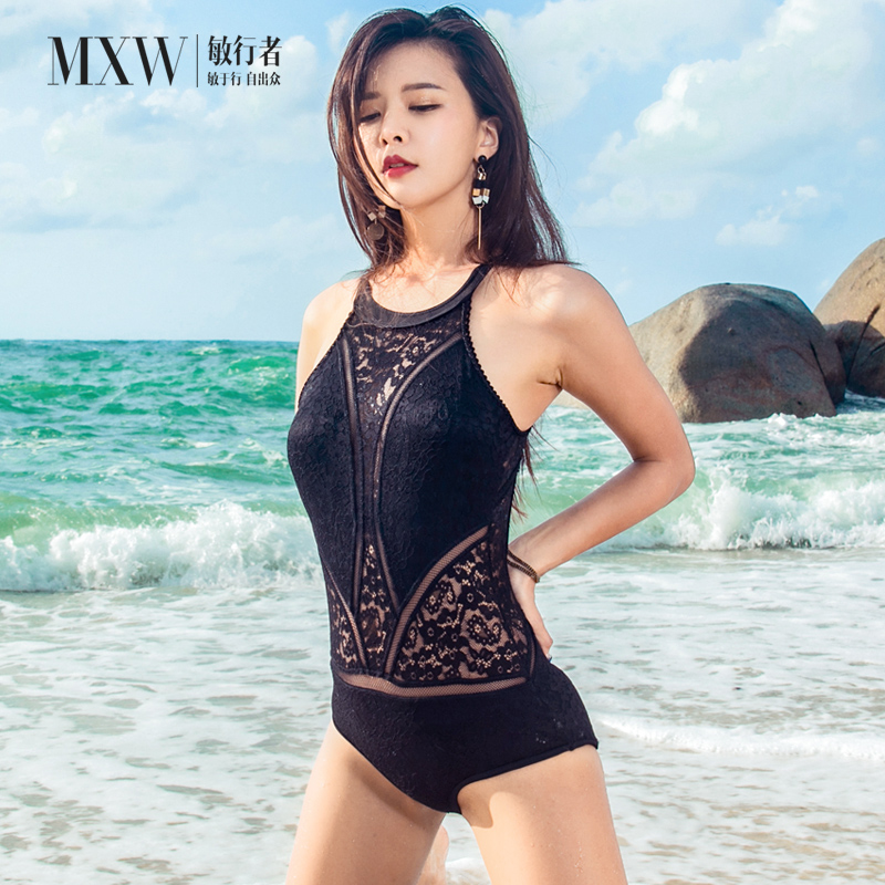 Min Walker ins style one piece swimsuit womens hollow bikini sexy open back small chest thin conservative cover belly triangle