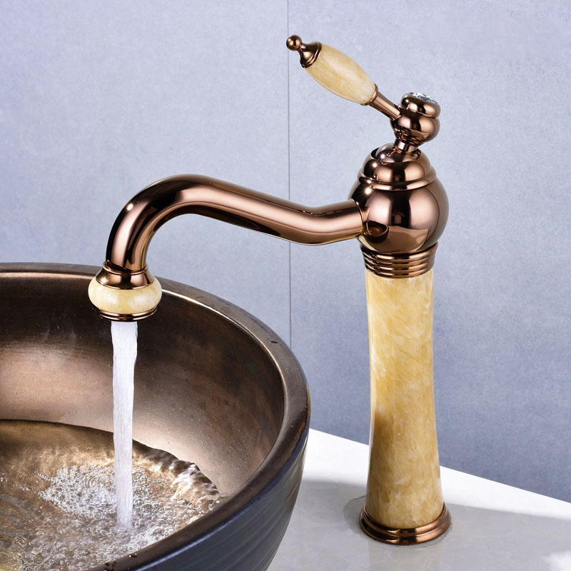 European heightening faucet basin hot and cold Topaz marble basin faucet all copper rose gold faucet