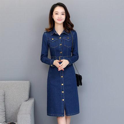 d牛仔裙韩版长袖修身显瘦女连衣裙
