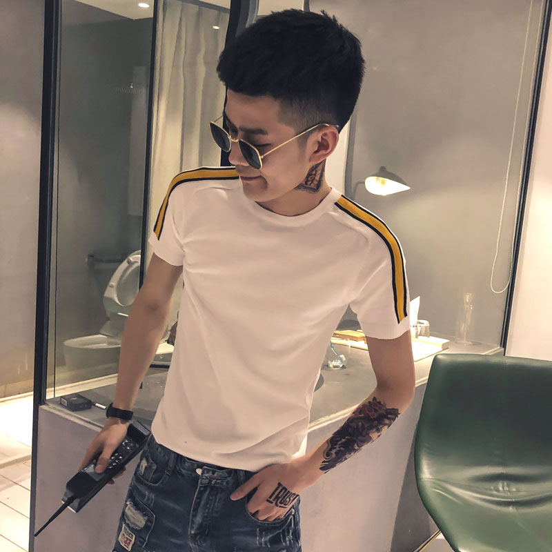 Short sleeve t-shirt mens loose large round neck bottoming shirt summer thin slim fit clothes fashion brand sports T-shirt