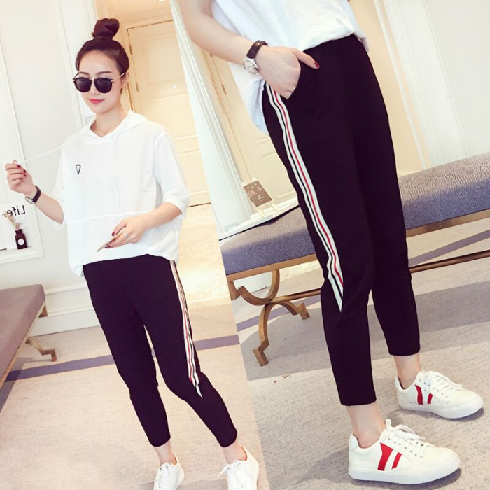 Summer thin contrast striped loose Capris rubber band harem striped Sweatpants