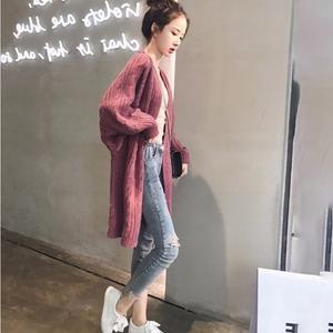 秋冬女设计感宽松加厚上衣毛衣蝙蝠袖针织开衫外套学生中长款T恤
