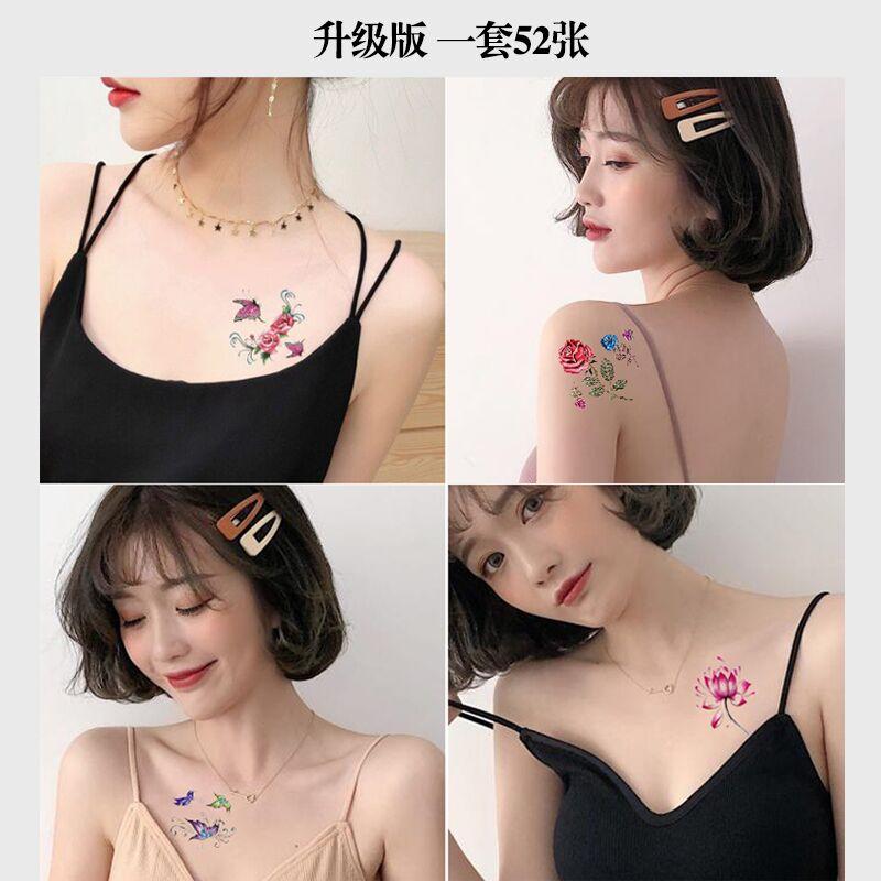 纹身贴女防水持久ins风 性感花朵蝴蝶遮疤锁骨半永久网红文身贴纸