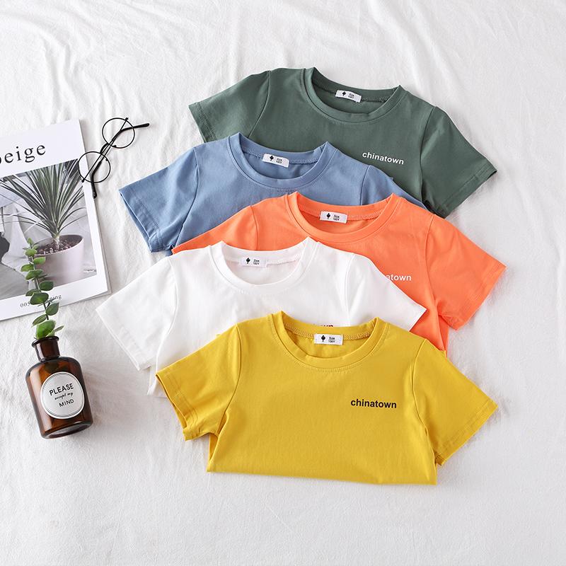 男童短袖t恤2020夏装新款女童韩版洋气字母糖果半袖宝宝薄款上衣