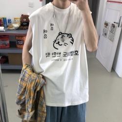 M115* 动物图案印花男女无袖T恤背心P28(控38)