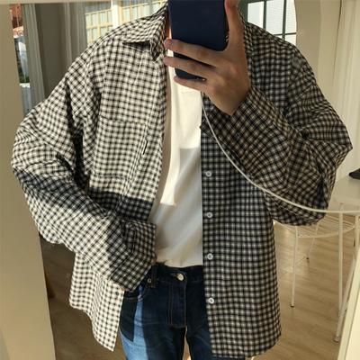 E08*店主系列/18秋季韩版细格落肩OV版衬衫长袖P58(限价68)