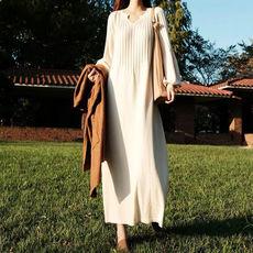 秋冬加厚长款过膝针织连衣裙女灯笼袖大码显瘦毛衣裙宽松打底长裙