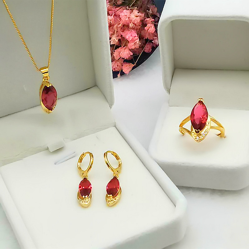 Gold Plated rings, earrings, necklace, grandmothers Ruby, ladys diamond inlaid imitation 24K jewelry set, girlfriend gift