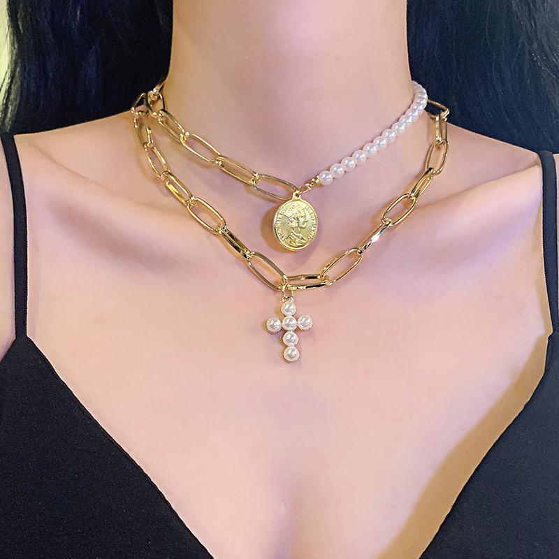 欧美性感网红珍珠锁链女choker低胸长款项链女皇钱币个性吊坠