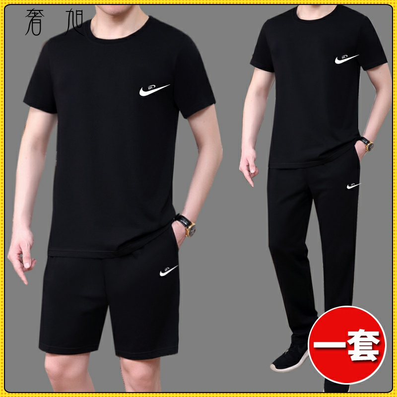 Summer suit mens short sleeve T-shirt summer casual sports running trend summer mens suit with handsome