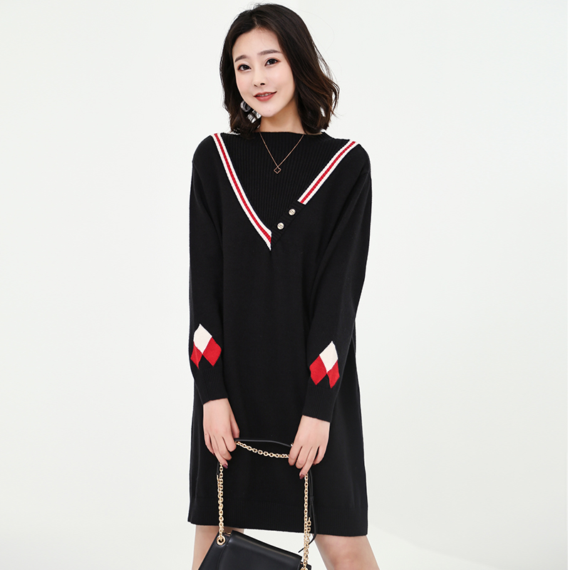 Combo knitwear womens new fall / winter 2019 V-neck mid long Pullover Korean loose outer sweater ins fashion
