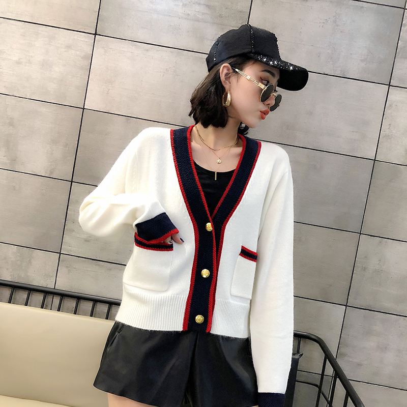 Combo Sweater Jacket Womens wear fall / winter 2020 new Korean loose net red lazy wind knitted cardigan top fashion