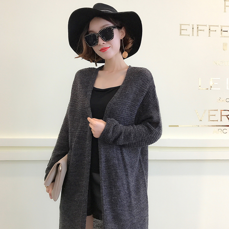 New medium and long cardigan knitted cardigan loose solid color long sleeve thick lazy sweater coat autumn winter women