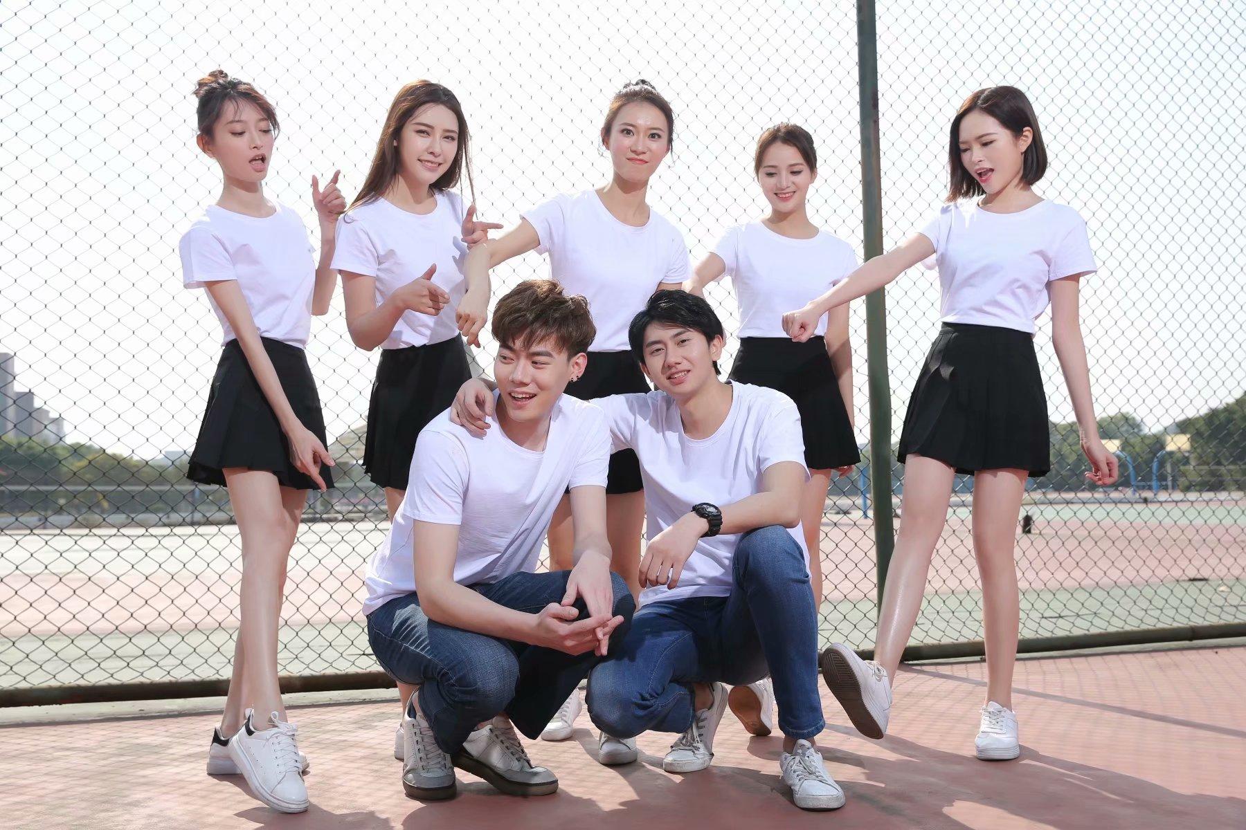 莫代尔短袖T恤印字logo印彩色图案班服同学聚会diy文化广告衫