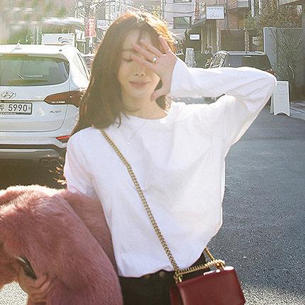 2018新款春秋季白色t恤长袖加绒打底衫女宽松百搭韩版学生上衣冬
