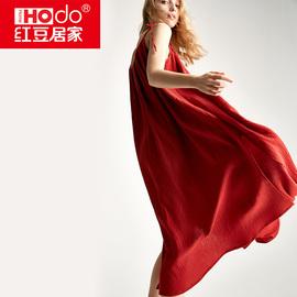 性感吊带睡裙女红豆大码长款沙滩连衣裙无袖红色结婚睡衣夏季薄款