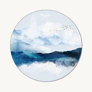 新中式屏风纱画定制山水圆形半透明乔其纱花格画布高密壁纸玄关画