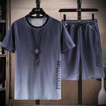 夏季新款冰丝运动休闲套装男短袖t恤韩版渐变色短裤潮牌体恤衫