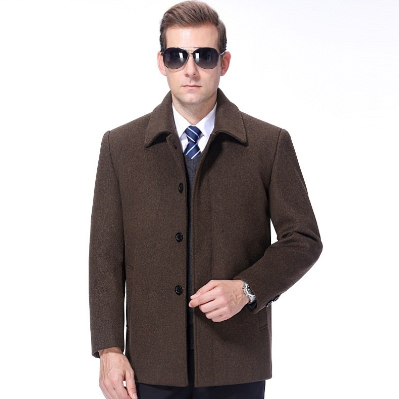 Versatile winter wear cashmere overcoat for middle and old aged mens woollen jacket mens coat mens thick daddys dress