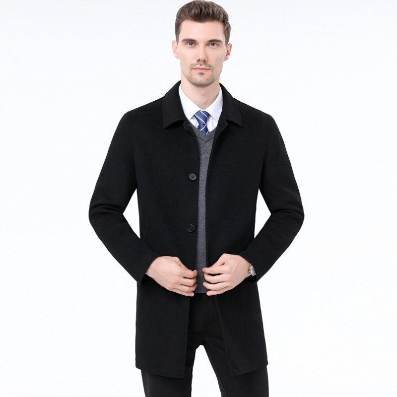 Breathable autumn and winter mens cashmere double-sided overcoat medium length business middle-aged woolen coat mens business autumn and winter