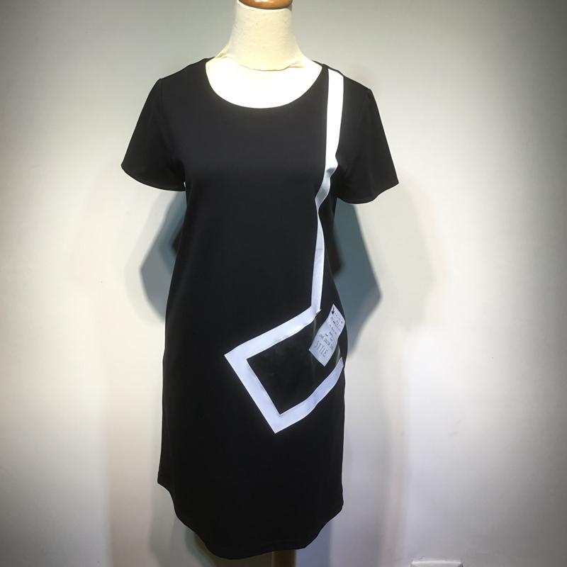风笛2018专柜正品夏装新款女装圆领休闲连衣裙修身显瘦72281