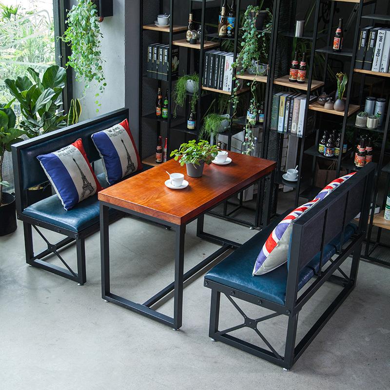 美式铁艺餐桌椅组合LOFT工业风沙发组合复古咖啡厅酒吧餐厅卡座椅