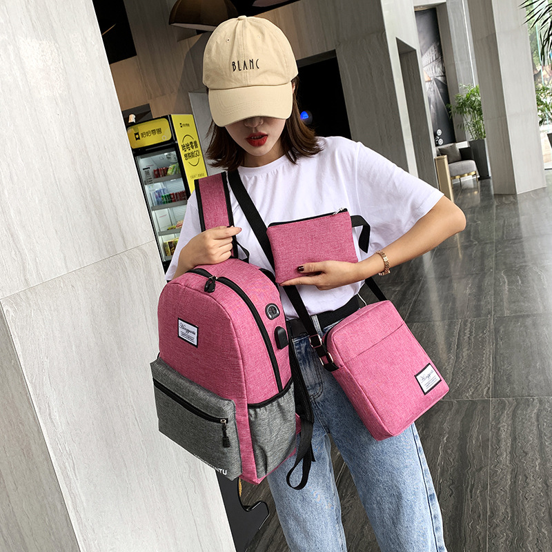 New color contrast mens and womens three piece suit leisure large capacity computer backpack fashion Korean double shoulder bag