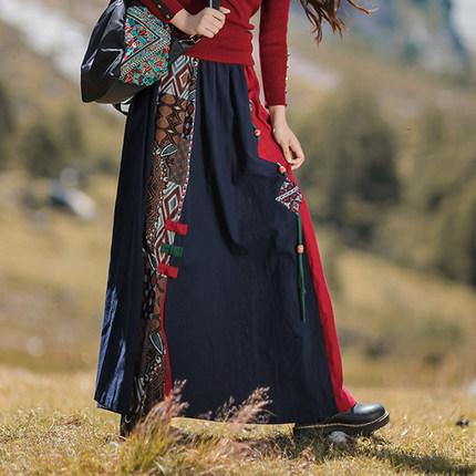 徽调梵歌2020秋冬新款原创民族风半身裙棉麻松紧腰撞色拼接长裙女