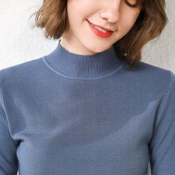 秋冬新款纯羊绒衫女半高领套头纯色毛衣羊毛修身显瘦针织打底衫