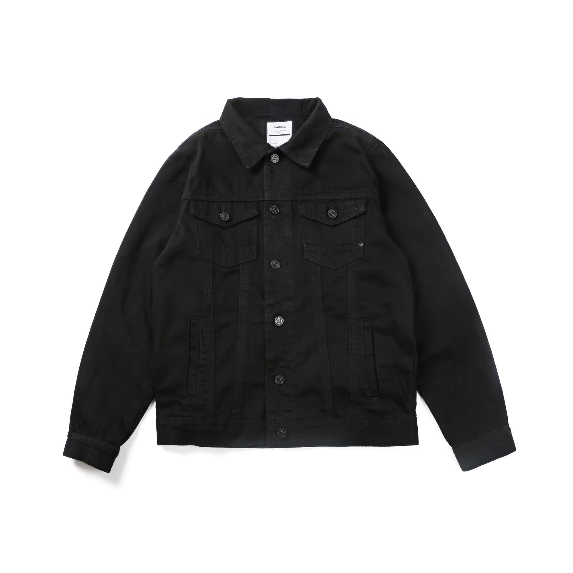 黑色水洗牛仔夹克 日系潮牌短款修身男士国潮黑色秋外套